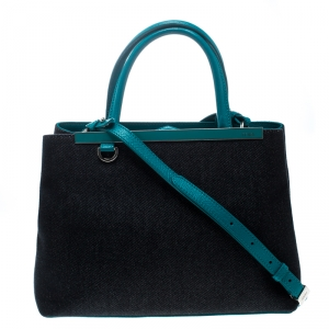 Fendi Blue/Green Denim and Leather Petite 2Jours Top Handle Bag