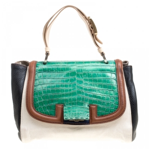 Fendi Multicolor Canvas, Leather and Crocodile Silvana Top Handle Bag