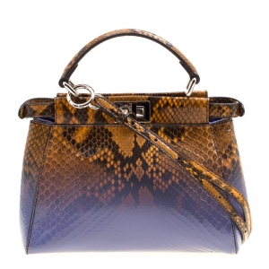 Fendi Brown/Purple Ombre Python Mini Peekaboo Top Handle Bag