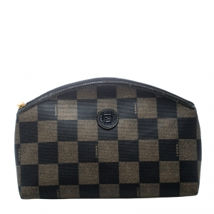 Fendi Brown/Black Check Print Coated Canvas Pouch