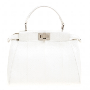 Fendi White Python Mini Peekaboo Top Handle Bag
