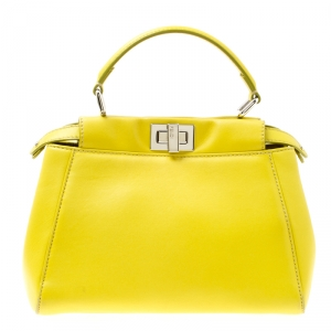 Fendi Yellow Leather Mini Peekaboo Top Handle Bag