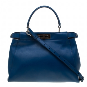 Fendi Blue Leather and Calfhair Lining Medium Peekaboo Top Handle Bag