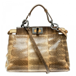 Fendi Beige Python and Python Lining Mini Peekaboo Top Handle Bag
