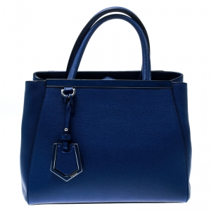 Fendi Blue Leather Petite Sac 2jours Elite Top Handle Bag