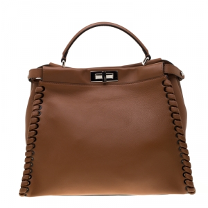 Fendi Brown Leather Large Lace Up Peekaboo Top Handle Bag