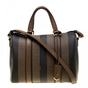 Fendi Tobacco Pequin Coated Canvas Bowler Bag
