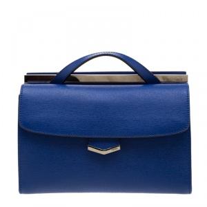 Fendi Blue Textured Leather Mini Demi Jour Shoulder Bag