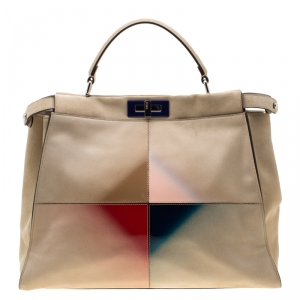 Fendi Beige Airbrushed Suede and Leather Large Peekaboo Top Handle Bag