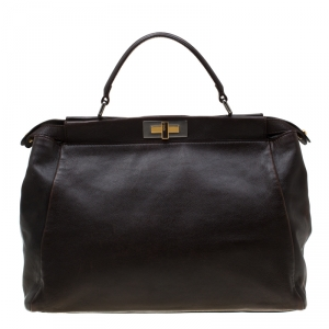 Fendi Dark Brown Leather Large Peekaboo Top Handle Bag