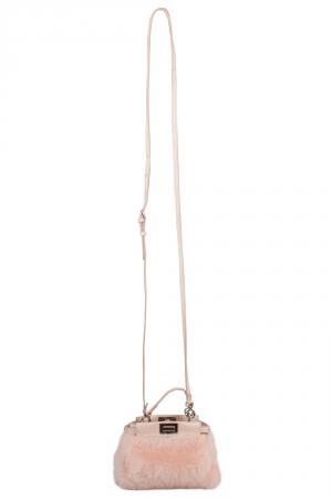 Fendi Peach Sherling Micro Peekaboo Crossbody Bag