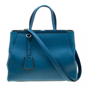 Fendi Blue Saffiano Leather 2Jours Top Handle Bag