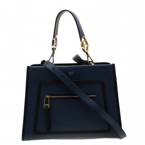 Fendi Blue/Black Leather Runaway Top Handle Bag