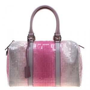Fendi Pink/Grey Zucchino Sequin Canvas and Leather Bauletto Boston Bag