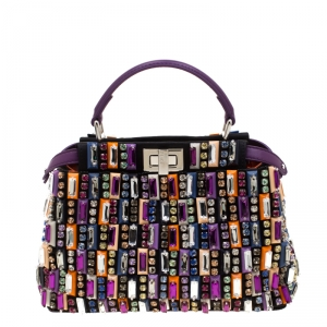 Fendi Multicolor Crystal Embellished Leather Mini Peekaboo Top Handle Bag