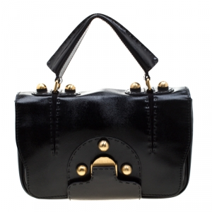Fendi Black Patent Leather F3 Secret Code Top Handle Bag