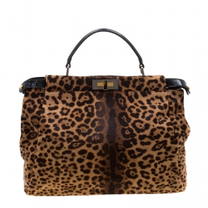 Fendi Brown/Black Leopard Print Calfhair Large Peekaboo Top Handle Bag