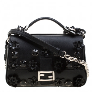 Fendi Blue/Black Leather Double Micro Baguette Bag
