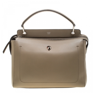 Fendi Khaki Leather Dotcom Top Handle Bag
