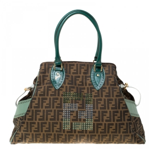 Fendi Brown/Green Zucca Canvas and Leather Studded Large De Jour Bag