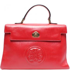 Fendi Red Leather Top Handle Bag