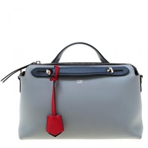 Fendi Grey/Blue Leather By The Way Boston Bag