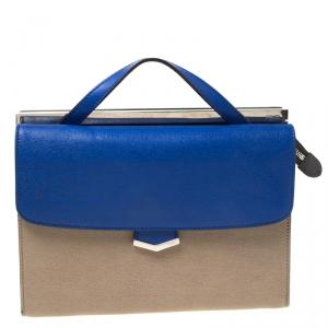 Fendi Beige/Blue Textured Leather Small Demi Jour Top Handle Bag