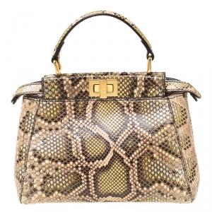 Fendi Multicolor Python Leather Mini Peekaboo Top Handle Bag