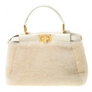 Fendi Cream Shearling and Leather Mini Peekaboo Top Handle Bag