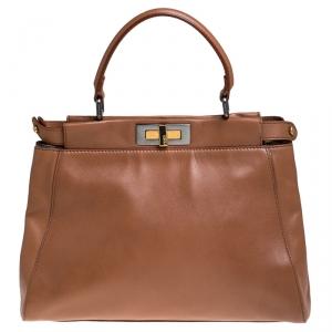 Fendi Light Brown Leather Medium Peekaboo Top Handle Bag