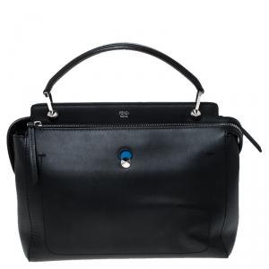 Fendi Black Leather Dotcom Click Top Handle Bag