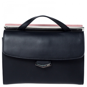 Fendi Black/Pink Textured Leather Mini Demi Jour Top Handle Bag