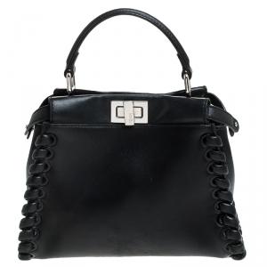 Fendi Black Leather Mini Whipstitched Peekaboo Top Handle Bag
