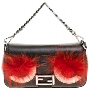 Fendi Dark Grey Leather and Fur Trim Micro Baguette Shoulder Bag