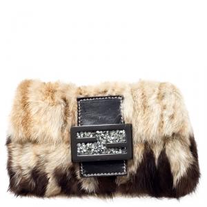 Fendi Beige/Brown Fur Forever Baguette Shoulder Bag