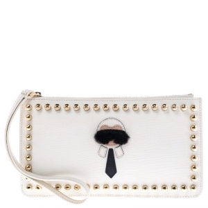 Fendi Off White Studded Leather Karlito Flat Pouch