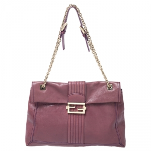 Fendi Purple Leather Maxi Baguette Flap Shoulder Bag