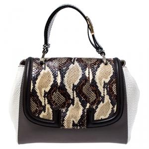 Fendi Multicolor Python and Leather Silvana Top Handle Bag