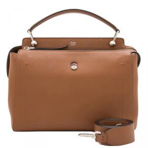 Fendi Brown Leather Dotcom Top Handle Bag