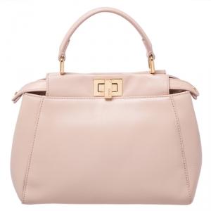 Fendi Peach Leather Mini Peekaboo Top Handle Bag