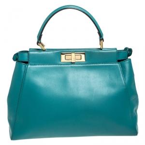 Fendi Teal Leather Medium Peekaboo Top Handle Bag