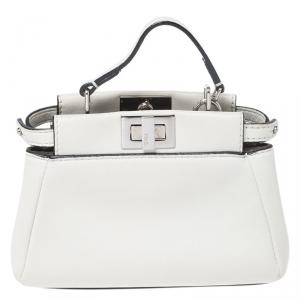 Fendi White Leather Micro Peekaboo Top Handle Bag