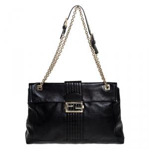 Fendi Black Metallic Leather Maxi Baguette Shoulder Bag