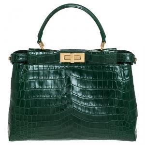 Fendi Green Crocodile Medium Peekaboo Top Handle Bag