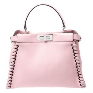 Fendi Pink Leather Medium Whipstitched Peekaboo Top Handle Bag