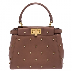 Fendi English Rose Leather Star Crystals Embellished XS Iconic Peekaboo Top Handle Bag