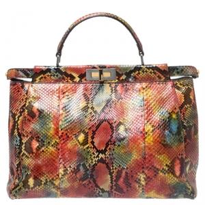 Fendi Multicolor Python Large Peekaboo Top Handle Bag