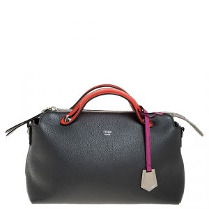 Fendi Grey/Orange Leather By The Way Boston Bag