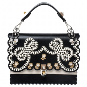 Fendi Black/Beige Embroidered Leather Medium Pearl Kan I Top Handle Bag