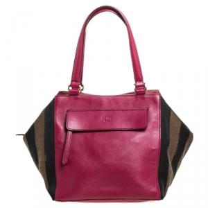 Fendi Fuchsia Pequin Stripe Canvas and Leather Boston Bag
